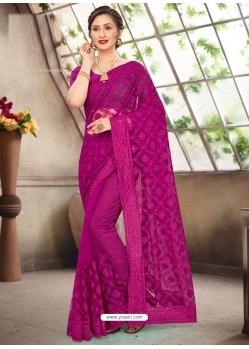 Medium Violet Latest Designer Party Wear Net Sari