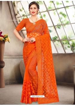 Orange Latest Designer Party Wear Net Sari