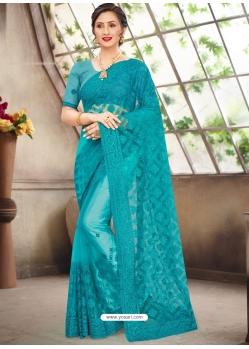 Blue Latest Designer Party Wear Net Sari