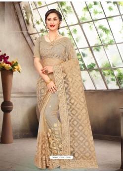 Gold Latest Designer Party Wear Net Sari