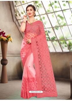 Peach Latest Designer Party Wear Net Sari