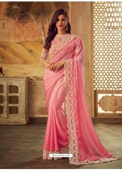 Pink Latest Designer Party Wear Sari