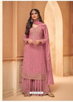 Light Pink Faux Georgette Designer Party Wear Palazzo Suit