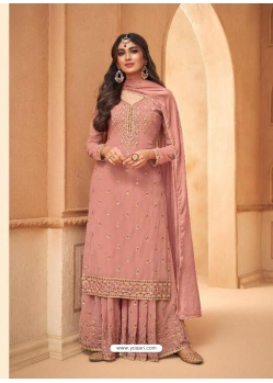 Light Red Faux Georgette Designer Party Wear Palazzo Suit