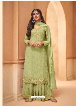 Green Faux Georgette Designer Party Wear Palazzo Suit
