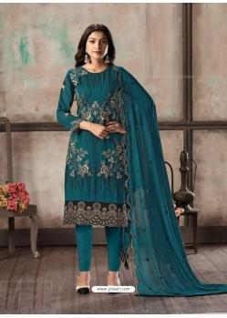 Teal Blue Designer Faux Georgette Party Wear Straight Salwar Suit