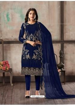 Dark Blue Designer Faux Georgette Party Wear Straight Salwar Suit