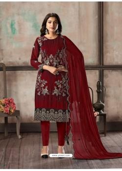 Maroon Designer Faux Georgette Party Wear Straight Salwar Suit