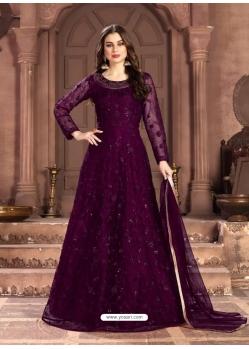 Purple Latest Designer Party Wear Net Gown Suit