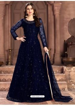 Navy Blue Latest Designer Party Wear Net Gown Suit