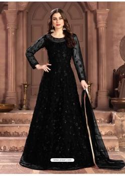 Black Latest Designer Party Wear Net Gown Suit