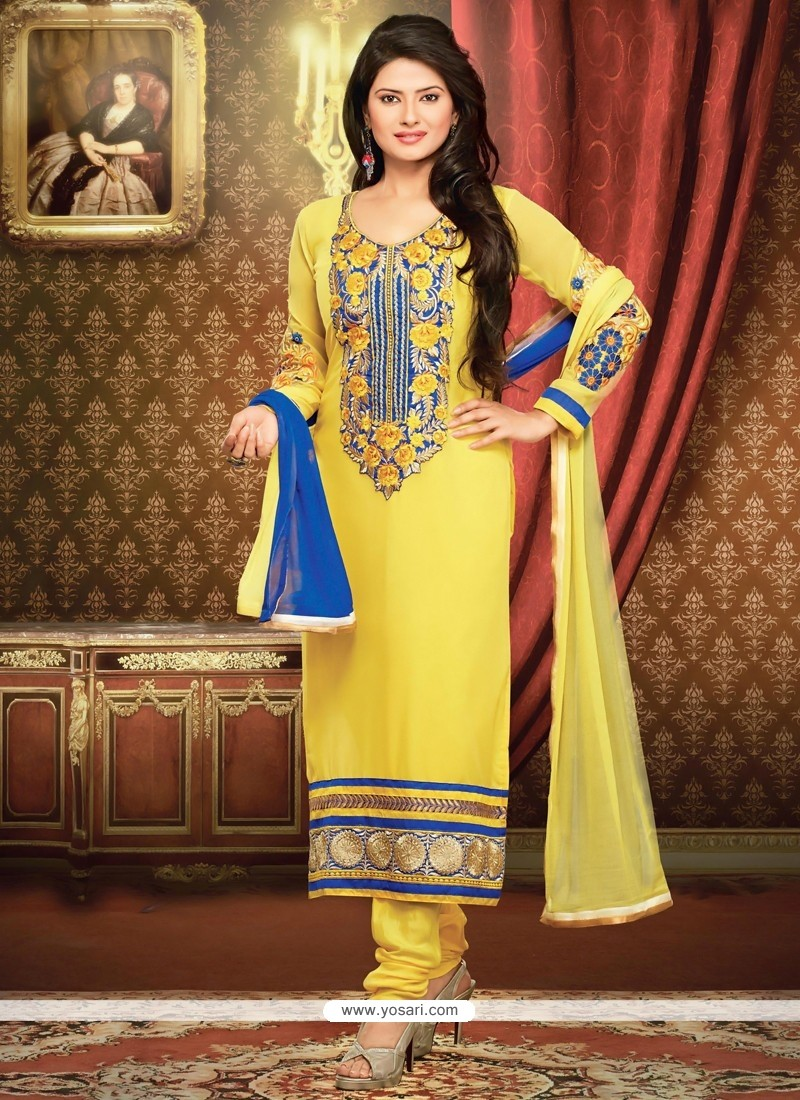 Awesome Yellow Embroidered Work Churidar Suit