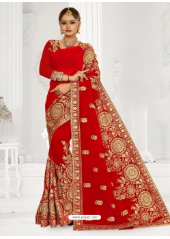 Astonishing Red Latest Designer Booming Georgette Party Wear Sari