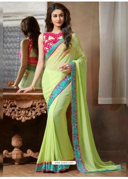 Green Designer Party Wear Georgette Sari