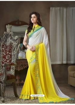 Yellow Designer Party Wear Georgette Sari