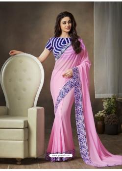 Pink Designer Party Wear Georgette Sari