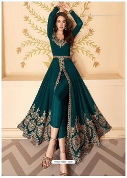 Teal Blue Latest Designer Party Wear Real Georgette Gown Suit