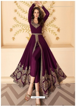 Deep Wine Latest Designer Party Wear Real Georgette Gown Suit