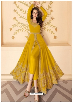 Yellow Latest Designer Party Wear Real Georgette Gown Suit