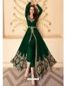 Dark Green Latest Designer Party Wear Real Georgette Gown Suit