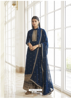 Teal Blue Real Georgette Designer Party Wear Palazzo Suit