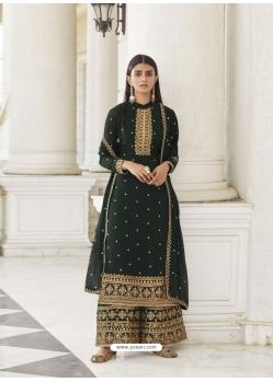 Dark Green Real Georgette Designer Party Wear Palazzo Suit