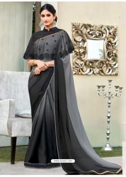 Black Latest Designer Party Wear Chiffon Sari With Ponchu