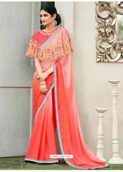 Dark Peach Latest Designer Party Wear Chiffon Sari With Ponchu
