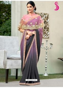Multi Colour Latest Designer Party Wear Chiffon Sari With Ponchu