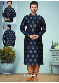 Navy Blue Exclusive Readymade Designer Kurta Pajama
