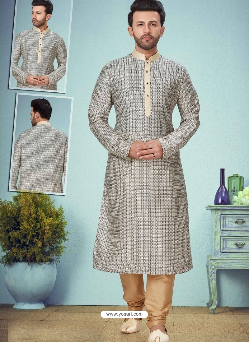 Silver Exclusive Readymade Designer Kurta Pajama