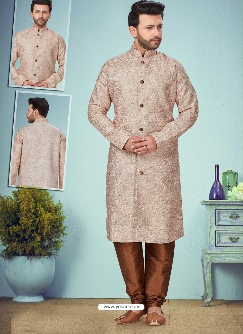 Light Brown Exclusive Readymade Designer Kurta Pajama