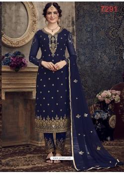 Navy Blue Georgette Designer Party Wear Straight Suit