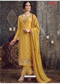 Yellow Georgette Designer Party Wear Straight Suit