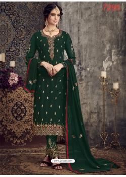 Dark Green Georgette Designer Party Wear Straight Suit