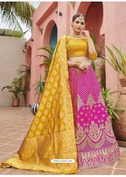 Magenta Designer Banarasi Silk Jacquard Wedding Lehenga Choli