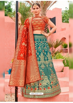 Teal Designer Banarasi Silk Jacquard Wedding Lehenga Choli