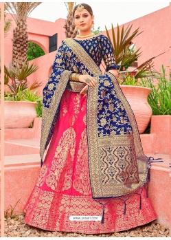 Fuchsia Designer Banarasi Silk Jacquard Wedding Lehenga Choli