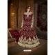 Maroon Latest Designer Party Wear Net Gown Suit