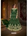 Dark Green Latest Designer Party Wear Net Gown Suit