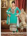 Turquoise Georgette Zari Churidar Suit