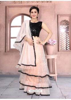 Light Orange Latest Designer Net Party Wear Sari