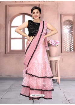 Pink Latest Designer Net Party Wear Sari