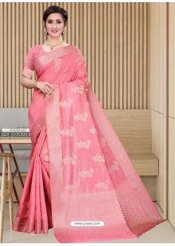 Peach Latest Designer Silk Party Wear Sari