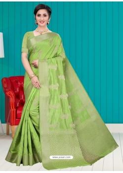 Green Latest Designer Silk Party Wear Sari