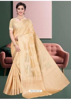 Cream Latest Designer Silk Party Wear Sari