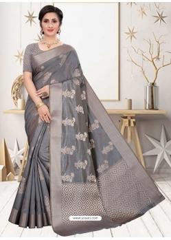 Grey Latest Designer Silk Party Wear Sari