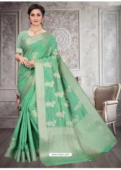 Jade Green Latest Designer Silk Party Wear Sari