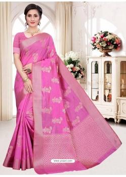 Magenta Latest Designer Silk Party Wear Sari