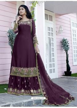 Purple Japan Satin Designer Party Wear Palazzo Suit
